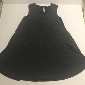 Gray tank top v-neck tunic dress with Pockets M